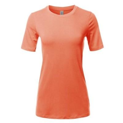 レディース 衣類 トップス A2Y Women's Basic Solid Premium Cotton Short Sleeve Crew Neck T Shirt Tee Tops Deep Coral S