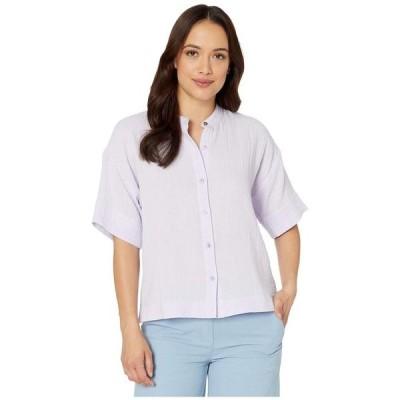 エイリーンフィッシャー レディース シャツ トップス Petite Organic Cotton Lofty Gauze Mandarin Collar Elbow Sleeve Boxy Shirt