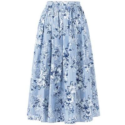 フラワープリントストライプスカート/ブルー系/S