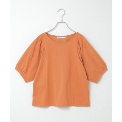 tシャツ Tシャツ モイスチャーコットン袖ギャザープルオーバー