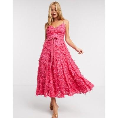フォーエバー ユー レディース ワンピース トップス Forever U midi dress with fringe 3D fabrication in hot pink
