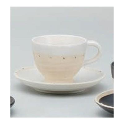 コーヒーカップ 白ポルカ 土物 カップ&ソーサー 陶器 日本製 美濃焼