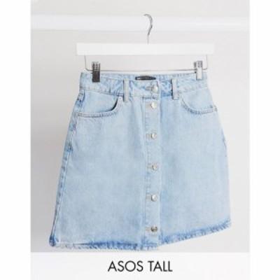 エイソス ASOS Tall レディース スカート デニム ASOS DESIGN Tall denim button through skirt in blue ブルー