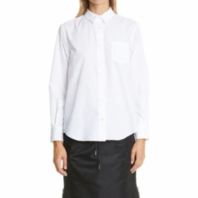 サカイ SACAI レディース ブラウス・シャツ トップス Contrast Pleat Back Shirt White