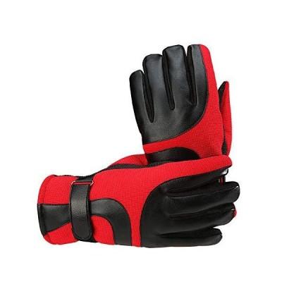 スキーグローブメンズ冬暖かい手袋 プラスベルベット厚手オートバイサイクリンググローブ 赤