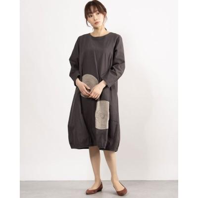 カンカン KANKAN カットワーク刺繍ドレス (チャコール)