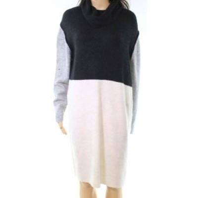 ファッション ドレス Solutions NEW Black Women Size Large L Colorblock Cowlneck Sweater Dress