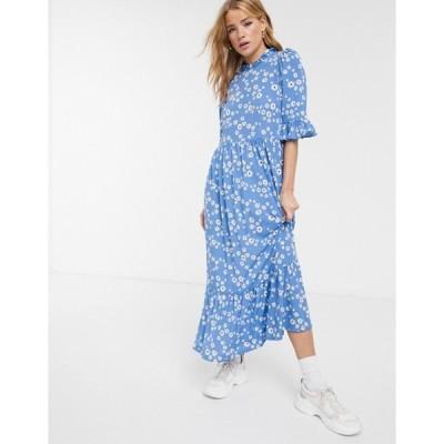 エイソス レディース ワンピース トップス ASOS DESIGN smock maxi dress in blue daisy print
