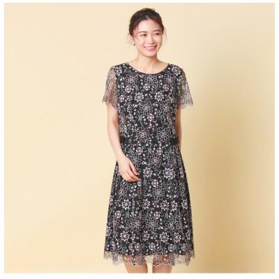 【ローズティアラ】 フラワーチュール刺繍ワンピース レディース ブラック 36 Rose Tiara
