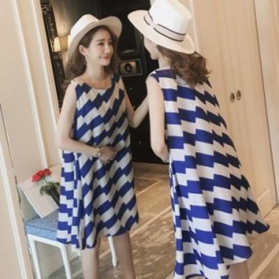 女性の夏のノースリーブルースオフショルダープリントベストドレス