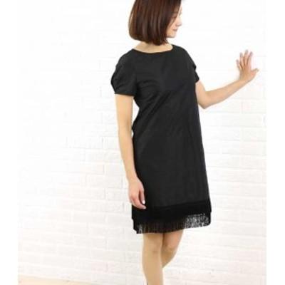 Dress apt.(ドレスアプト) タフタ裾フリンジ 半袖ワンピース・16423・1991502    レディース 女性 誕生日プレゼント ギフト 正規品 新品