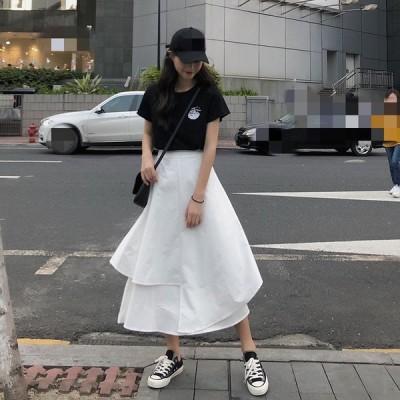 2色 レディース 大きいサイズ Aライン  ロングスカート  無地  ハイウエスト  スカート春夏 ティアードスカート  ゆったり