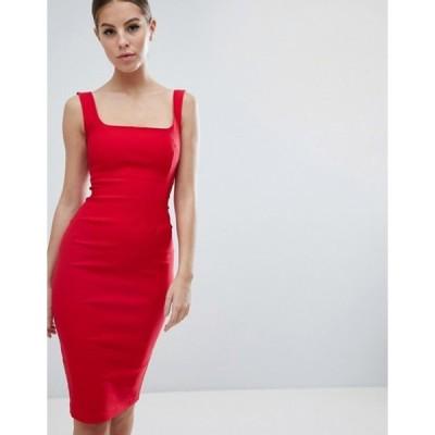 ベスパー レディース ワンピース トップス Vesper square neck pencil dress in red