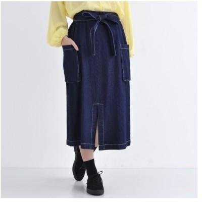 デニムスカート マチ付きポケット ウエストリボン merlot メルロー レディース