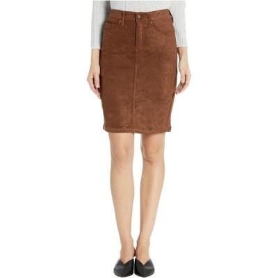 リバプール Liverpool レディース ひざ丈スカート ペンシルスカート スカート Pencil Skirt in a Stretch Faux Suede Chocolate Brown