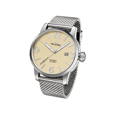 TW Steel Maverick Unisex Automatic Watch with Beige Dial Analogue Display and Grey Stainless Steel Bracelet MB5 並行輸入品
