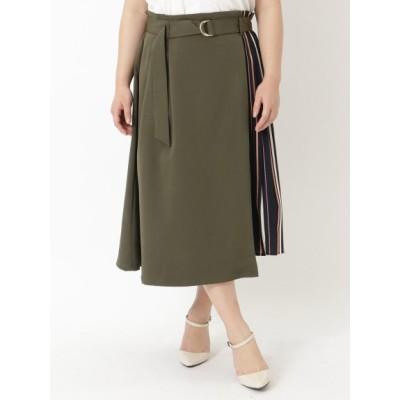 【大きいサイズ】サイドストライプAラインスカート 大きいサイズ スカート レディース