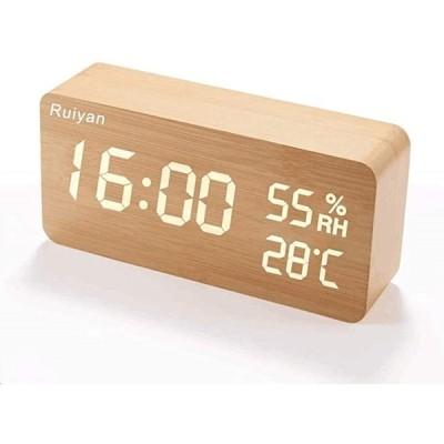 最新デザイン 目覚まし時計 置き時計 LEDデジタル時計 アラームクロック 温度湿度計 カレンダー 音声感知 木目調(木目調)