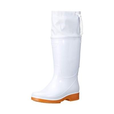 日進ゴム 作業靴 ハイパーV #4200 耐油 防滑 先芯無し フード付衛生長靴 メンズ ホワイト 25.5