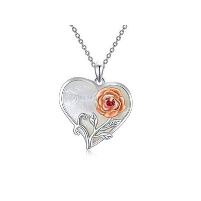 【送料無料】AOBOCO Sterling Silver Heart Rose Necklace with Pearl Shell Two-Tone Rose F