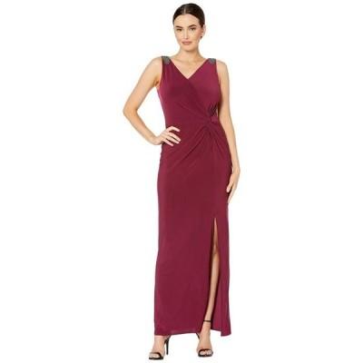 アレックスイブニングス レディース ワンピース トップス Long Sleeveless Knot Front Dress with Beaded Shoulder Detail