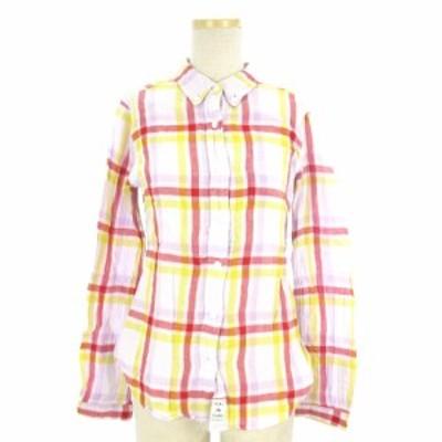 【中古】ベッド&ブレックファスト シャツ 長袖  胸ポケット BD チェック コットン レッド イエロー ピンク S ■NY