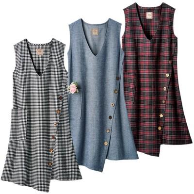 ベルーナ 【3色組】ボタンが可愛いジャンパースカート ネイビー L レディース