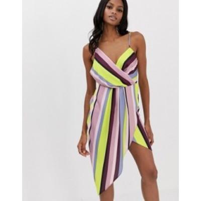 エイソス レディース ワンピース トップス ASOS DESIGN satin drape neck midi dress in rainbow stripe Rainbow stripe