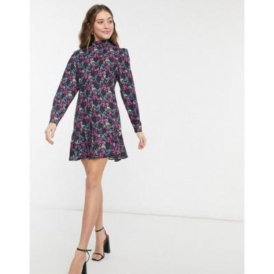 スタイルチート Style Cheat レディース ワンピース Aライン high neck open back mini skater dress in mixed ditsy floral print フローラル