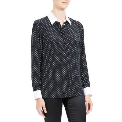セオリー レディース シャツ トップス Polka Dot Combo Stretch Crepe Shirt