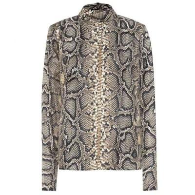ヴィクトリア ベッカム Victoria Beckham レディース ブラウス・シャツ トップス snake-printed silk shirt Khaki