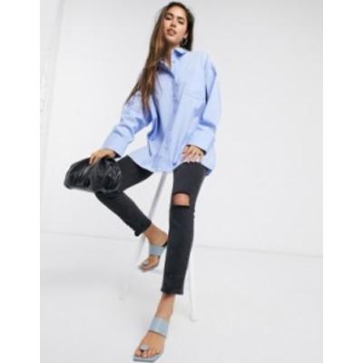 エイソス レディース シャツ トップス ASOS DESIGN long sleeve oversized dad shirt in cotton in blue Blue