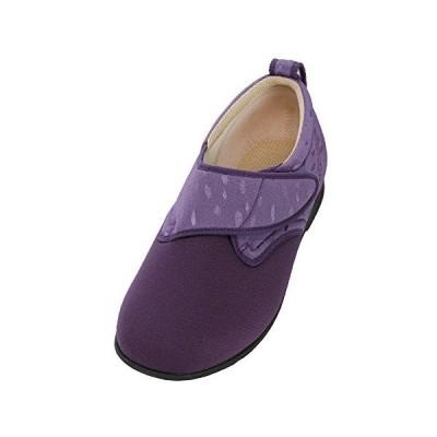 あゆみシューズ ウィングストレッチ 紫 Lサイズ(23.0~23.5cm) 足囲3E 片足(左足) 施設・院内用 介護シューズ