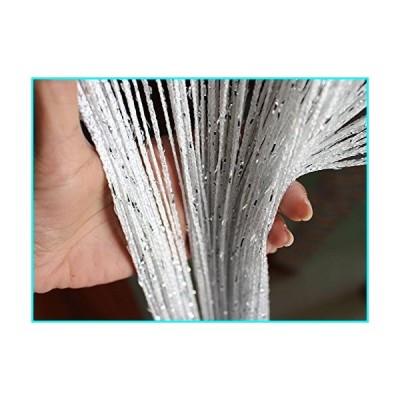 (White) - Eyotool 1x2 M Door String Curtain Rare Flat Silver Ribbon Thread Fringe Window Panel Room Divider Cute Strip Tassel for Wedding Co