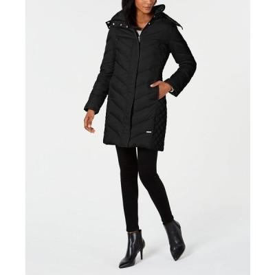 ケネスコール コート アウター レディース Faux-Fur-Trim Hooded Down Puffer Coat Black