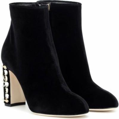 ドルチェandガッバーナ Dolce and Gabbana レディース ブーツ ショートブーツ シューズ・靴 embellished velvet ankle boots Black/Multi