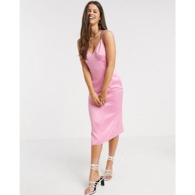 ファッションユニオン Fashion Union レディース ワンピース スリップドレス キャミワンピ ワンピース・ドレス midi cami slip dress in satin ピンクサテン