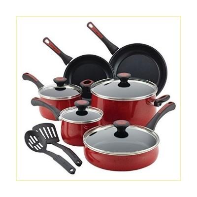 ポーラディーン 12 個 リバーベンド アルミ テフロン加工 の 調理器具 セット 、 赤 スペックル
