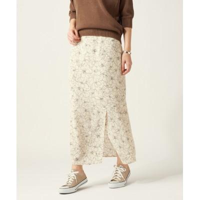 ラインフラワープリントスカート