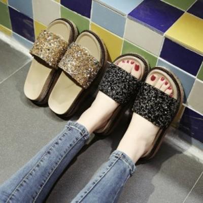 サンダル キラキラ ビーサン ジュートミュール ビーチサンダル 海 夏サンダル シューズ 靴 レディース 女性用 サボサンダル