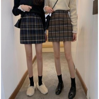 【2019秋冬】【2カラー S-L】ガーリーな印象を高めてくれるチェック柄ミニスカート♪ ミニスカート/ショート丈/タイトスカート/シンプル