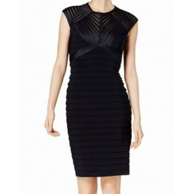Betsy & Adam ベッツィアンドアダム ファッション ドレス Betsy & Adam NEW Blue Womens Size 4P Petite Illusion Sheath Dress