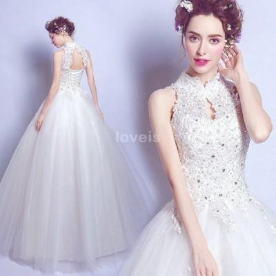 ウェディングドレス Aラインドレス エンパイア 二次会 花嫁 編み上げタイプ 二次会 ホワイト ダイヤ 長袖 ウェディング