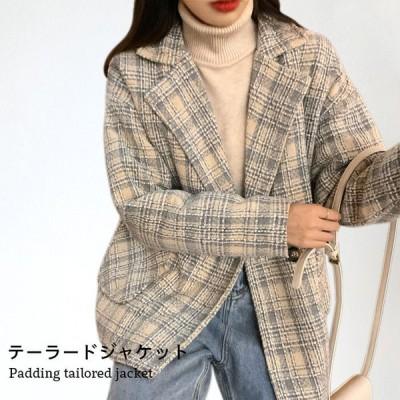 【送料無料】タータンチェック レディース テーラードジャケット 中綿キルティング キルティングジャケット 中綿 ジャケット テーラード チェック柄