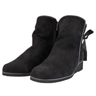 レディース 靴 ブーツ マドラス ミッシー 日本製 リボン付き サイドファスナー ペタンコ ウェッジソール ショートブーツ ブラックスエード MMD9657BLKS