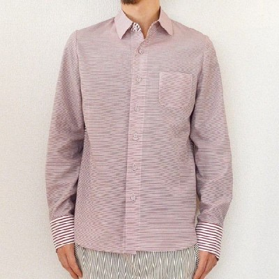 multiple core マルチプルコア border weave cloth mix pattern shirt umber rose1