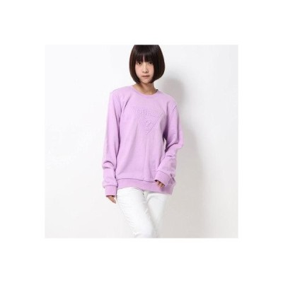 ゲス GUESS EMBOSS TRIANGLE LOGO CREW SWEAT (LAVENDER)
