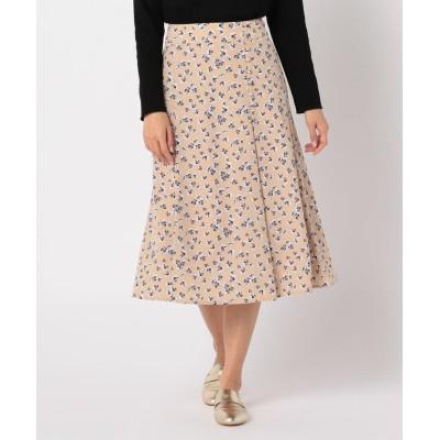 【フレディアンドグロスター】 花柄プリントボタンデザインスカート レディース ブラウンベージュ系4 36 FREDY&GLOSTER