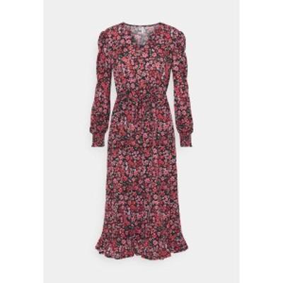 オンリー レディース ワンピース トップス ONLPELLA MIDI DRESS  - Day dress - black/shore flowers pink black/shore flowers pink