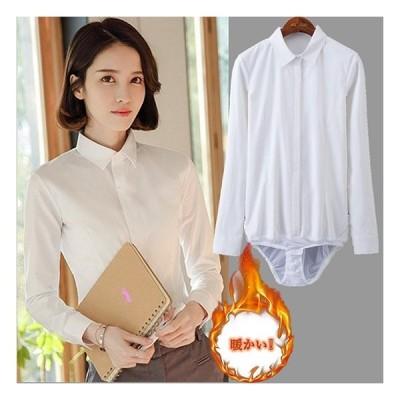 白 シャツ レディース ブラウス 長袖 ネルシャツ 暖かい 秋冬 ビジネス 仕事 ホワイト おしゃれ 大きいサイズ 隠しボタン 形態安定 チラ見え防止 ワイシャツ